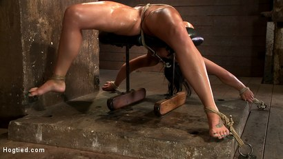Photo number 14 from Cute girl with massive tits, bound & oiled<br>Pussy flogged, fingered, made to cum over & over. shot for Hogtied on Kink.com. Featuring Mackenzee Pierce in hardcore BDSM & Fetish porn.