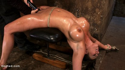 Photo number 8 from Cute girl with massive tits, bound & oiled<br>Pussy flogged, fingered, made to cum over & over. shot for Hogtied on Kink.com. Featuring Mackenzee Pierce in hardcore BDSM & Fetish porn.