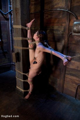 Photo number 4 from Standing splits, full strappado<br>Intense foot caning, brutal orgasms ripped from her helpless body shot for Hogtied on Kink.com. Featuring Sensi Pearl and Rain DeGrey in hardcore BDSM & Fetish porn.