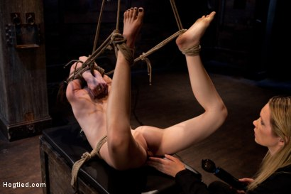 Photo number 10 from Severely bound into a brutal hogtie and pulled to the breaking point<br>Made to cum over and over! shot for Hogtied on Kink.com. Featuring Sensi Pearl and Rain DeGrey in hardcore BDSM & Fetish porn.