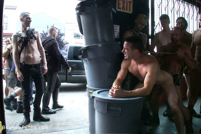 Photo number 13 from Muscle slave is stripped naked, used and humiliated while hordes of people take photos. shot for Bound in Public on Kink.com. Featuring Josh West, Jason Miller and Spencer Reed in hardcore BDSM & Fetish porn.