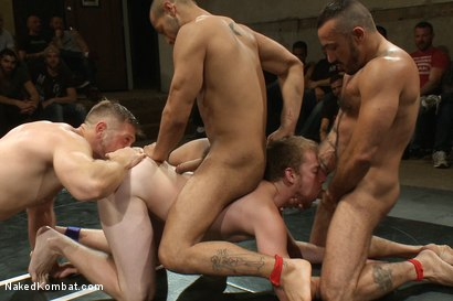 Photo number 11 from Paul Wagner & Sebastian Keys vs Leo Forte & Alessio Romero - Live Audience Tag Team Match shot for Naked Kombat on Kink.com. Featuring Leo Forte, Sebastian Keys, Alessio Romero and Paul Wagner in hardcore BDSM & Fetish porn.