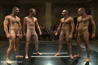 Photo number 15 from Paul Wagner & Sebastian Keys vs Leo Forte & Alessio Romero - Live Audience Tag Team Match shot for Naked Kombat on Kink.com. Featuring Leo Forte, Sebastian Keys, Alessio Romero and Paul Wagner in hardcore BDSM & Fetish porn.