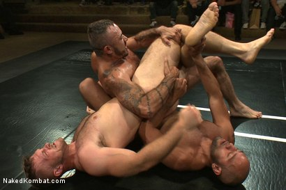Photo number 5 from Paul Wagner & Sebastian Keys vs Leo Forte & Alessio Romero - Live Audience Tag Team Match shot for Naked Kombat on Kink.com. Featuring Leo Forte, Sebastian Keys, Alessio Romero and Paul Wagner in hardcore BDSM & Fetish porn.