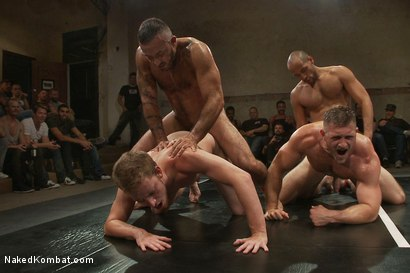 Photo number 14 from Paul Wagner & Sebastian Keys vs Leo Forte & Alessio Romero - Live Audience Tag Team Match shot for Naked Kombat on Kink.com. Featuring Leo Forte, Sebastian Keys, Alessio Romero and Paul Wagner in hardcore BDSM & Fetish porn.