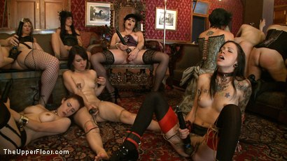 Photo number 11 from Sophie's Tea Party shot for The Upper Floor on Kink.com. Featuring Iona Grace, Krysta Kaos and Juliette March in hardcore BDSM & Fetish porn.