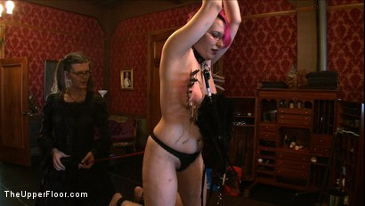 Photo number 3 from Sophie's Tea Party shot for The Upper Floor on Kink.com. Featuring Iona Grace, Krysta Kaos and Juliette March in hardcore BDSM & Fetish porn.
