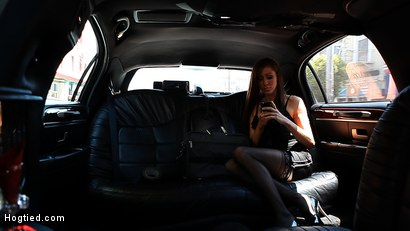"""Photo number 2 from """"The Limo"""": A Hogtied Feature Movie.  A fantasy BDSM abduction movie starring Princess Donna shot for hogtied on Kink.com. Featuring James Deen and Princess Donna Dolore in hardcore BDSM & Fetish porn."""