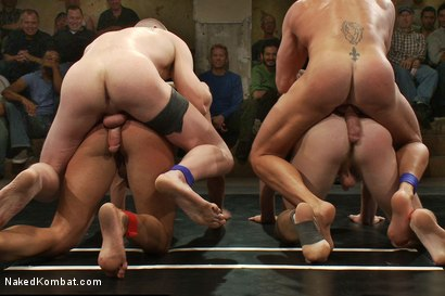 Photo number 11 from Tyler Saint & Blake Daniels vs Sebastian Keys & Emanuel <br> Live Audience Tag Team Match shot for Naked Kombat on Kink.com. Featuring Sebastian Keys, Emanuel, Blake Daniels and Tyler Saint in hardcore BDSM & Fetish porn.