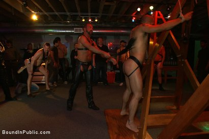Photo number 2 from Play Party at SF Citadel shot for Bound in Public on Kink.com. Featuring Leo Forte and Josh West in hardcore BDSM & Fetish porn.