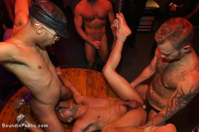 Photo number 13 from Play Party at SF Citadel shot for Bound in Public on Kink.com. Featuring Leo Forte and Josh West in hardcore BDSM & Fetish porn.