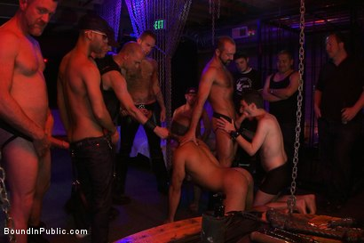 Photo number 4 from Play Party at SF Citadel shot for Bound in Public on Kink.com. Featuring Leo Forte and Josh West in hardcore BDSM & Fetish porn.
