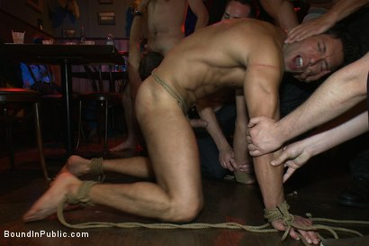 Photo number 7 from Hot Latin stripper is humiliated and used as a sex object in front of a horny crowd. shot for Bound in Public on Kink.com. Featuring Alexander Garrett and Tyler Saint in hardcore BDSM & Fetish porn.