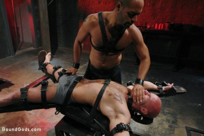 Photo number 1 from Wax Torment, Electricity and a Headless Fuck shot for Bound Gods on Kink.com. Featuring Drake Jaden and Leo Forte in hardcore BDSM & Fetish porn.