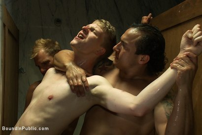 Photo number 9 from Dirty cruisers take down two innocent studs in a public toilet. shot for Bound in Public on Kink.com. Featuring Mike Rivers, Branden Forrest and Dutch Bardoux in hardcore BDSM & Fetish porn.