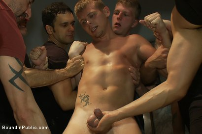 Photo number 5 from Dirty cruisers take down two innocent studs in a public toilet. shot for Bound in Public on Kink.com. Featuring Mike Rivers, Branden Forrest and Dutch Bardoux in hardcore BDSM & Fetish porn.
