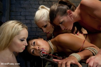 Photo number 9 from Three Hot Dommes, One Tough Sub, All Girl Wiredpussy Gangbang!!! shot for Wired Pussy on Kink.com. Featuring Aiden Starr, Ariel X, Lorelei Lee and Yuki Mori in hardcore BDSM & Fetish porn.