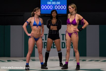 Photo number 1 from Ariel makes Rain cum on the mat, goes on to brutal victory<br>Nasty submission holds, Rain destroyed shot for Ultimate Surrender on Kink.com. Featuring Rain DeGrey and Ariel X in hardcore BDSM & Fetish porn.