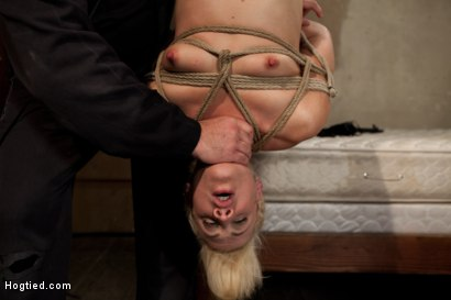 Photo number 14 from Tall long legged blond is hung upside down, made to cum<br>Choked, clamped & abused, left hanging.. shot for Hogtied on Kink.com. Featuring Dylan Ryan in hardcore BDSM & Fetish porn.