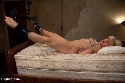 Photo number 3 from Tall long legged blond is hung upside down, made to cum<br>Choked, clamped & abused, left hanging.. shot for Hogtied on Kink.com. Featuring Dylan Ryan in hardcore BDSM & Fetish porn.