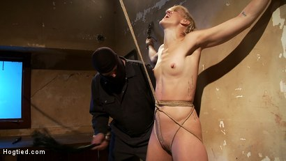 Photo number 4 from Tall hot blonde on tip-toes hanging from a crotch rope, made to squirt. shot for Hogtied on Kink.com. Featuring Dylan Ryan in hardcore BDSM & Fetish porn.