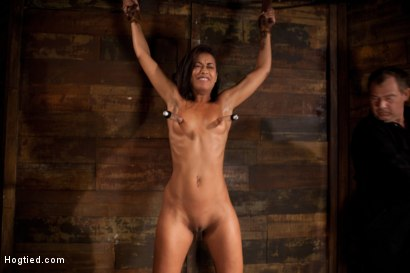 Photo number 4 from Category 5 wrist suspension<br>Caned, nipple torture and brutal crotch rope! Left to hang & suffer! shot for Hogtied on Kink.com. Featuring Skin Diamond and Isis Love in hardcore BDSM & Fetish porn.