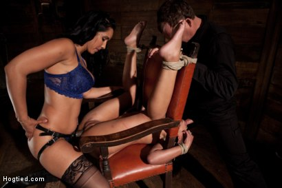 Photo number 4 from Skin gets all three holes fucked & fucked well<br>Skin made to cum so many times she even lost count shot for Hogtied on Kink.com. Featuring Skin Diamond and Isis Love in hardcore BDSM & Fetish porn.