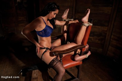 Photo number 8 from Skin gets all three holes fucked & fucked well<br>Skin made to cum so many times she even lost count shot for Hogtied on Kink.com. Featuring Skin Diamond and Isis Love in hardcore BDSM & Fetish porn.