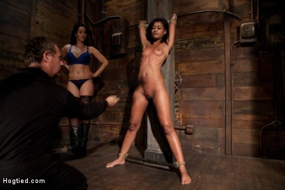 Photo number 5 from Skin is bound to a beam and a back breaker arches her to the limit<br>Flogged and made to come! shot for Hogtied on Kink.com. Featuring Skin Diamond and Isis Love in hardcore BDSM & Fetish porn.