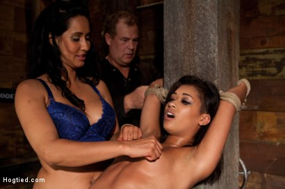 Photo number 10 from Skin is bound to a beam and a back breaker arches her to the limit<br>Flogged and made to come! shot for Hogtied on Kink.com. Featuring Skin Diamond and Isis Love in hardcore BDSM & Fetish porn.
