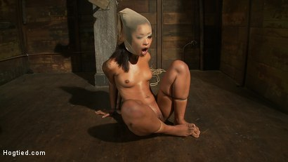 Photo number 14 from Bound with brutal black rubber bands<br>They dig in & constrict, skin is made to squirt & suck cock. shot for Hogtied on Kink.com. Featuring Skin Diamond and Isis Love in hardcore BDSM & Fetish porn.