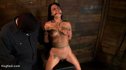 Photo number 12 from Sexy Hawaiian chick has her huge tits bound, whipped   cums hard while impaled, squirting buckets! shot for Hogtied on Kink.com. Featuring Mahina Zaltana in hardcore BDSM & Fetish porn.