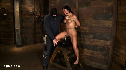 Photo number 5 from Sexy Hawaiian chick has her huge tits bound, whipped<br>cums hard while impaled, squirting buckets! shot for Hogtied on Kink.com. Featuring Mahina Zaltana in hardcore BDSM & Fetish porn.