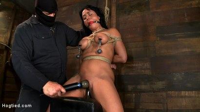 Photo number 10 from Sexy Hawaiian chick has her huge tits bound, whipped<br>cums hard while impaled, squirting buckets! shot for Hogtied on Kink.com. Featuring Mahina Zaltana in hardcore BDSM & Fetish porn.