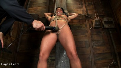 Photo number 11 from Hot sexy Hawaiian is bound to a pole, lifted to her tip toes with a brutal crotch rope. Made to cum! shot for Hogtied on Kink.com. Featuring Mahina Zaltana in hardcore BDSM & Fetish porn.