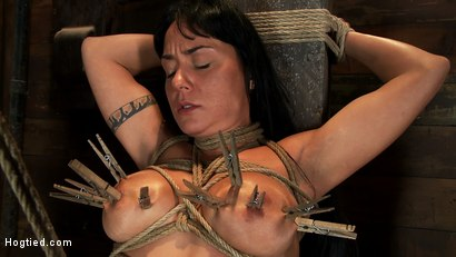 Photo number 7 from Hot sexy Hawaiian is bound to a pole, lifted to her tip toes with a brutal crotch rope. Made to cum! shot for Hogtied on Kink.com. Featuring Mahina Zaltana in hardcore BDSM & Fetish porn.