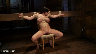 Photo number 3 from Big titted 21yr old in her first ever hardcore bondage shoot<br> Once helpless we abuse those tits. shot for Hogtied on Kink.com. Featuring Chloe Reece Ryder in hardcore BDSM & Fetish porn.
