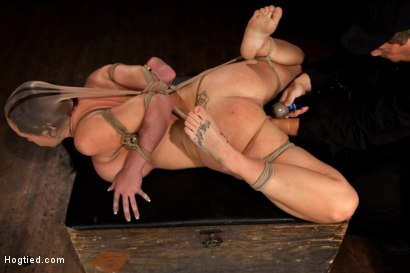 Photo number 11 from Big titted girl next door, severely bound, elbows together, made to cum<br>Skull fucked and abused. shot for Hogtied on Kink.com. Featuring Chloe Reece Ryder in hardcore BDSM & Fetish porn.