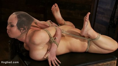 Big titted girl next door, severely bound, elbows together, made to cum Skull fucked and abused.