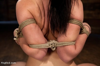 Photo number 3 from Big titted girl next door, severely bound, elbows together, made to cum<br>Skull fucked and abused. shot for Hogtied on Kink.com. Featuring Chloe Reece Ryder in hardcore BDSM & Fetish porn.