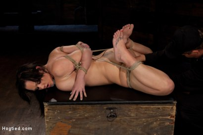 Photo number 7 from Big titted girl next door, severely bound, elbows together, made to cum<br>Skull fucked and abused. shot for Hogtied on Kink.com. Featuring Chloe Reece Ryder in hardcore BDSM & Fetish porn.