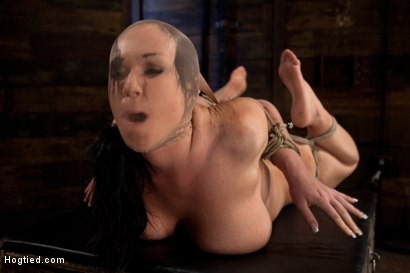 Photo number 8 from Big titted girl next door, severely bound, elbows together, made to cum<br>Skull fucked and abused. shot for Hogtied on Kink.com. Featuring Chloe Reece Ryder in hardcore BDSM & Fetish porn.