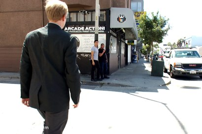 Photo number 1 from Two studs drag businessman into porn shop and strip his manhood! shot for Bound in Public on Kink.com. Featuring Alexsander Freitas and Ned Mayhem in hardcore BDSM & Fetish porn.