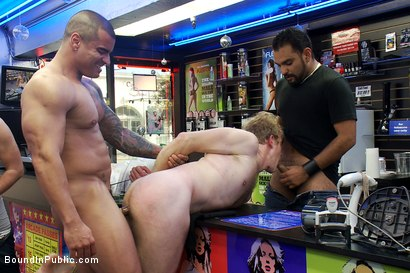 Photo number 13 from Two studs drag businessman into porn shop and strip his manhood! shot for Bound in Public on Kink.com. Featuring Alexsander Freitas and Ned Mayhem in hardcore BDSM & Fetish porn.