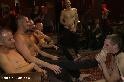 Photo number 8 from Big cock slave is publicly humiliated and caught in the cum fest. shot for Bound in Public on Kink.com. Featuring Josh West, Cole Streets and Lief Kaase in hardcore BDSM & Fetish porn.