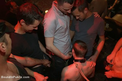 Photo number 5 from Big cock slave is publicly humiliated and caught in the cum fest. shot for Bound in Public on Kink.com. Featuring Josh West, Cole Streets and Lief Kaase in hardcore BDSM & Fetish porn.