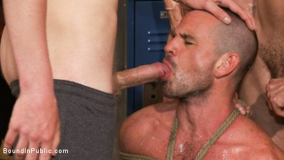 Photo number 4 from Handyman with a big cock gets tied up and used by horny dudes in the locker room. shot for Bound in Public on Kink.com. Featuring Ethan Ayers and Alexander Garrett in hardcore BDSM & Fetish porn.