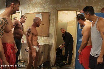 Photo number 1 from Handyman with a big cock gets tied up and used by horny dudes in the locker room. shot for Bound in Public on Kink.com. Featuring Ethan Ayers and Alexander Garrett in hardcore BDSM & Fetish porn.