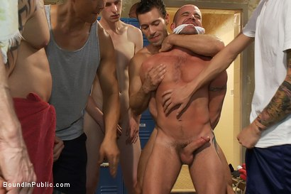 Photo number 2 from Handyman with a big cock gets tied up and used by horny dudes in the locker room. shot for Bound in Public on Kink.com. Featuring Ethan Ayers and Alexander Garrett in hardcore BDSM & Fetish porn.