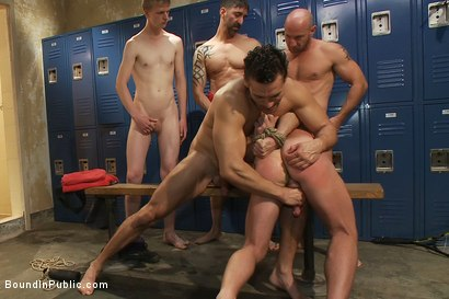 Photo number 5 from Handyman with a big cock gets tied up and used by horny dudes in the locker room. shot for Bound in Public on Kink.com. Featuring Ethan Ayers and Alexander Garrett in hardcore BDSM & Fetish porn.